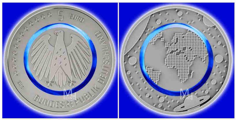 5 EURO BLAUER PLANET ERDE