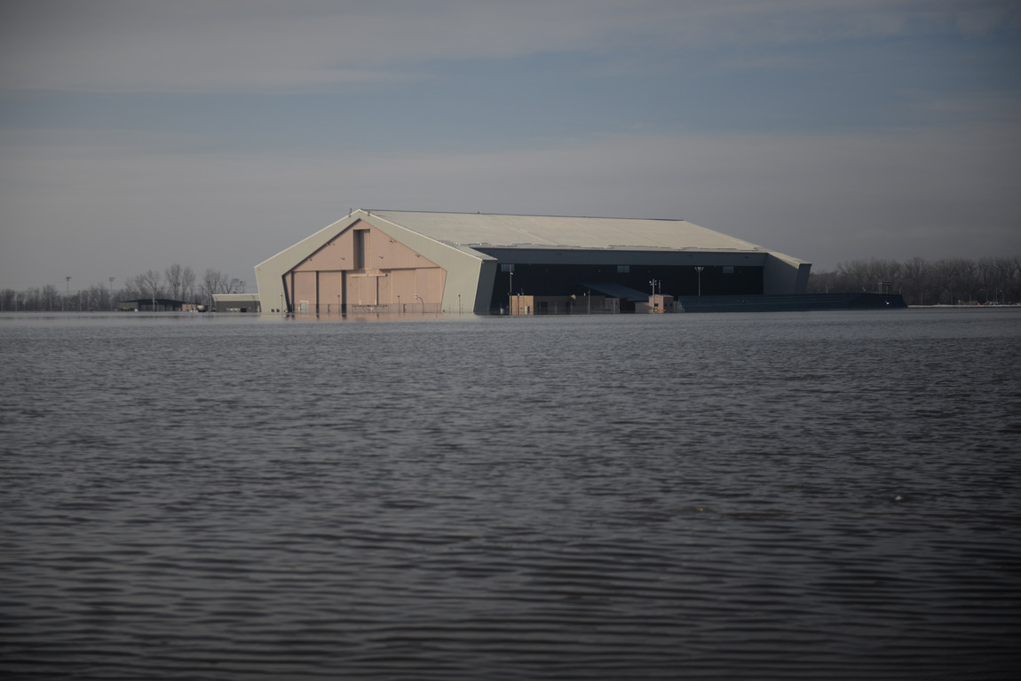One of many areas near the southeast side of Offutt Air Force Base affected by flood waters is seen in Nebraska, U.S., March 16, 2019. Picture taken March 16, 2019. Courtesy Rachelle Blake/U.S. Air Force/Handout via REUTERS ATTENTION EDITORS - THIS IMAGE HAS BEEN SUPPLIED BY A THIRD PARTY. - RC167CEAB470