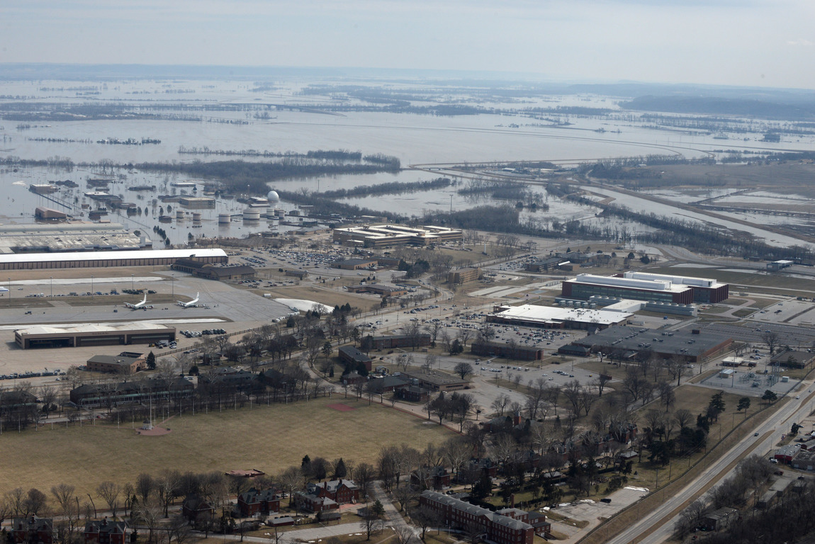 Offutt Air Force Base and the surrounding areas affected by flood waters are seen in this aerial photo taken in Nebraska, U.S., March 16, 2019. Picture taken March 16, 2019. Courtesy Rachelle Blake/U.S. Air Force/Handout via REUTERS ATTENTION EDITORS - THIS IMAGE HAS BEEN SUPPLIED BY A THIRD PARTY. - RC1AD10D9000