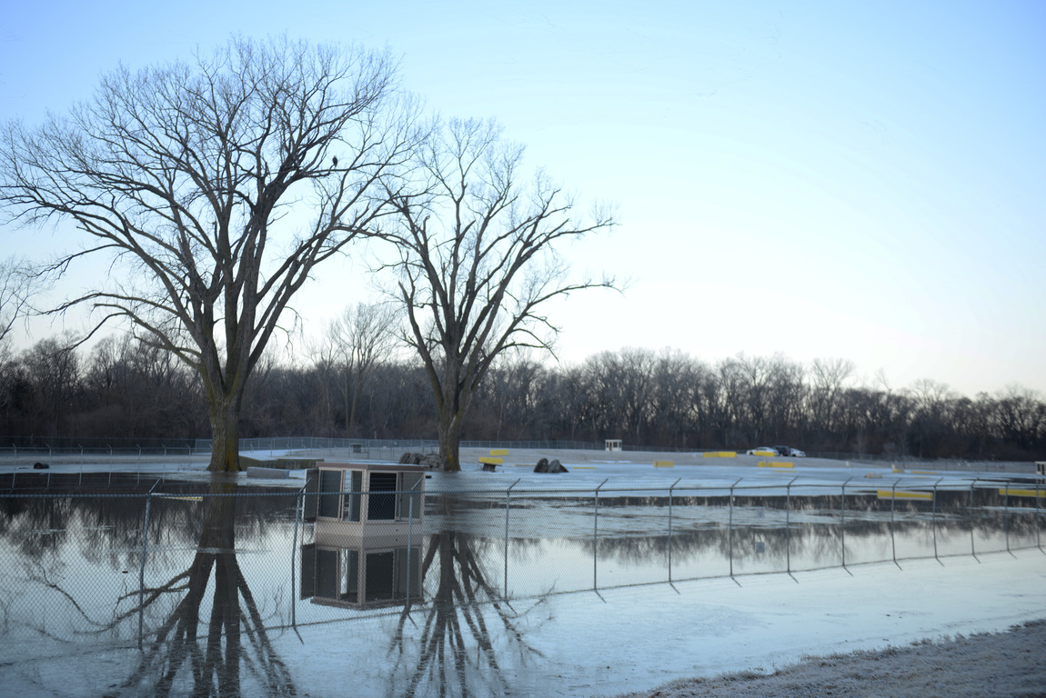 One of many areas near the southeast side of Offutt Air Force Base affected by flood waters is seen in Nebraska, U.S., March 16, 2019. Picture taken March 16, 2019. Courtesy Rachelle Blake/U.S. Air Force/Handout via REUTERS ATTENTION EDITORS - THIS IMAGE HAS BEEN SUPPLIED BY A THIRD PARTY. - RC126BB41E70