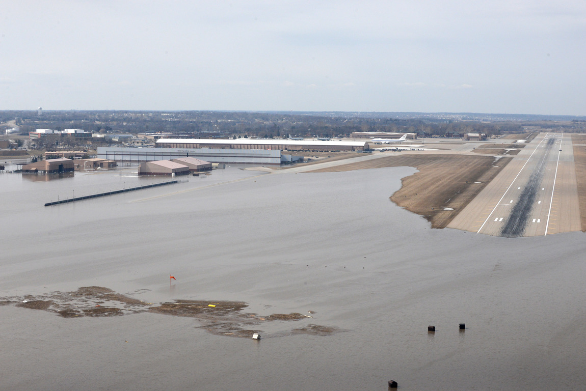 An aerial view of Offutt Air Force Base and the surrounding areas affected by flood waters in Nebraska