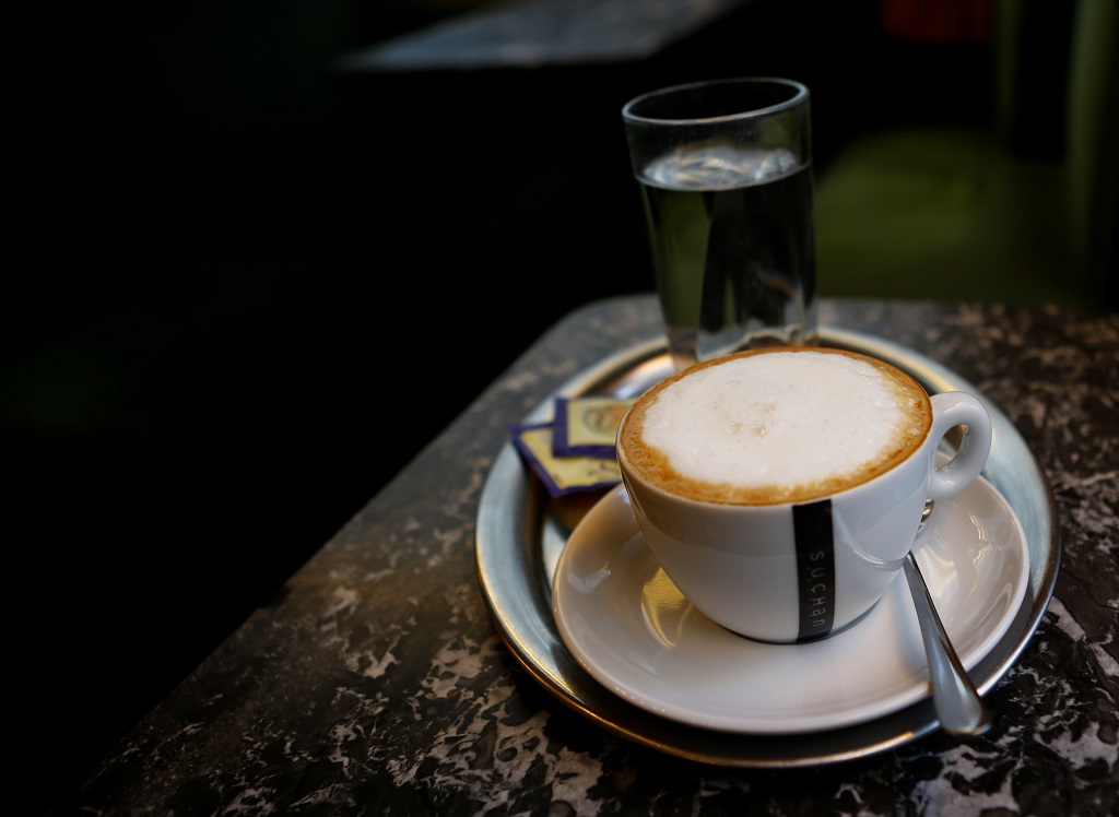 A Melange (milk coffee) is pictured in a cafe in Vienna, Austria, November 22, 2016.   REUTERS/Leonhard Foeger - RTX2UTI0