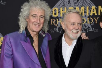 "Queen band members Brian May, left, and Roger Taylor attend the premiere of ""Bohemian Rhapsody"" at The Paris Theatre on Tuesday, Oct. 30, 2018, in New York. (Photo by Evan Agostini/Invision/AP)"